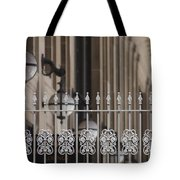 White Wrought Iron Gate In Chicago Tote Bag