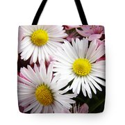 White Yellow Daisy Flowers Art Prints Pink Blossoms Tote Bag