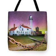 Whitefish Point Lighthouse   Northern Lights -0524 Tote Bag