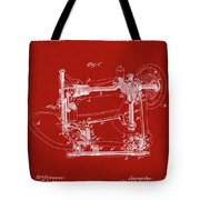 Whitehill Sewing Machine Patent 1885 Red Tote Bag