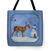 Whitetail Deer And Snowman - Whose Carrot? Tote Bag