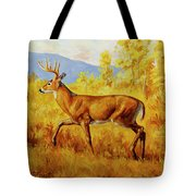 Whitetail Deer In Aspen Woods Tote Bag by Crista Forest