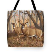 Whitetail Deer Painting - Fall Flame Tote Bag by Crista Forest