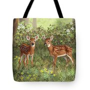 Whitetail Deer Twin Fawns Tote Bag by Crista Forest