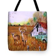Whitetail Deer With Truck And Barn Tote Bag