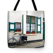 Whitewashed Brick House With Green Trimmed Shutters In Bruges Tote Bag