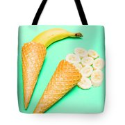 Whole Bannana And Slices Placed In Ice Cream Cone Tote Bag