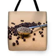 Whole Black Peppercorns With A Heaping Teaspoon Of Ground Pepper Tote Bag