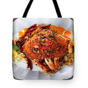Whole Cooked Dungeness Crab With Peanut Sauce And Spices On Whit Tote Bag