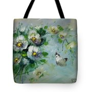 Whte Butterfly And Blossoms Tote Bag