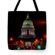 Wi State Capitol From West Washington Ave Tote Bag
