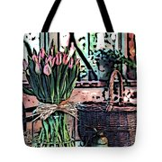 Wicker Basket And Flowers Tote Bag