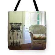 Wicker Chair And Planter Tote Bag