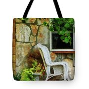 Wicker Rocking Chair On Porch Tote Bag