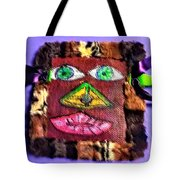 Wide Eyed Loup Garou Mardi Gras Screen Mask Tote Bag
