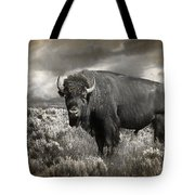 Wild Buffalo In Yellowstone Tote Bag