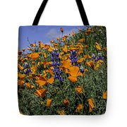 Wild California Poppies And Lupine Tote Bag