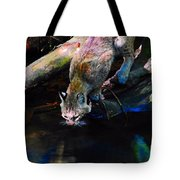 Wild Cat Drinking Tote Bag