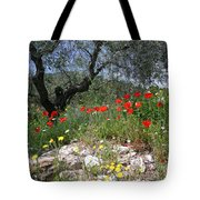 Wild Flowers And Olive Tree Tote Bag
