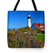Wild Flowers Fading At The Portland Head Light Tote Bag