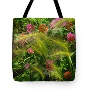 Wild Grasses And Red Clover Tote Bag