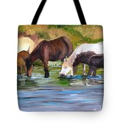 Wild Horses At The Watering Hole Tote Bag