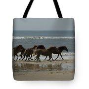 Wild  Horses Run On The Beach Tote Bag