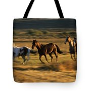 Wild Horses Running Together Tote Bag