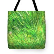 Wild Meadow Grass Structure In Bright Green Tones, Painting Detail. Tote Bag
