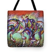 Wild Pastel Ponies Tote Bag by Louise Green