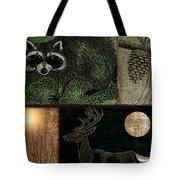 Wild Racoon And Deer Patchwork Tote Bag