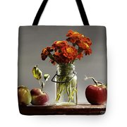 Wild Red Apples With Marigolds Tote Bag