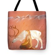 Wild Reindeer And Young Woman Becoming Friends - Poetic Painting Tote Bag