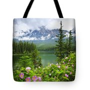 Wild Roses And Mountain Lake In Jasper National Park Tote Bag