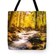 Wild Waterfalls Flowing Through A Forest Tote Bag