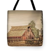 Wild West Barn And Hay Wagon Tote Bag