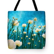 Poppies In The Blue Sky Tote Bag
