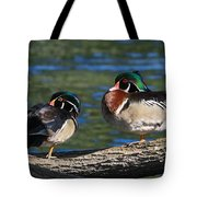 Wild Wood Ducks On A Log Tote Bag