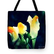 Wild Yellow Flowers On Dark Background Tote Bag