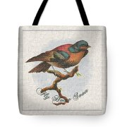 Wildcraft Bird Print On Linen Tote Bag