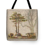 Wildcraft Trees Print On Linen Tote Bag