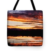Wildfire Sunset Reflection Image 28 Tote Bag