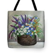 Wildflower Basket Acrylic Painting A61318 Tote Bag