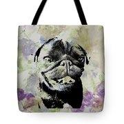 Wildflower Pug Tote Bag