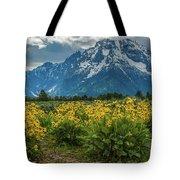 Wildflowers And Mount Moran Tote Bag