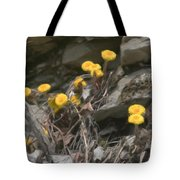 Wildflowers In Rocks Tote Bag