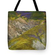Wildflowers Up The Hills Of Temblor Range At Carrizo Plain National Monument Tote Bag