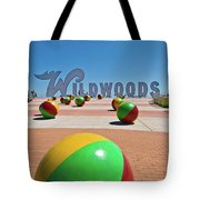 Wildwood's Sign, Wildwood, Nj Boardwalk . Copyright Aladdin Color Inc. Tote Bag