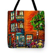 Wilensky Diner Little League Expo Kids Baseball Painting Montreal Scene Canadian Art Carole Spandau  Tote Bag