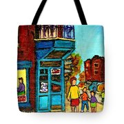 Wilensky's Counter With School Bus Montreal Street Scene Tote Bag